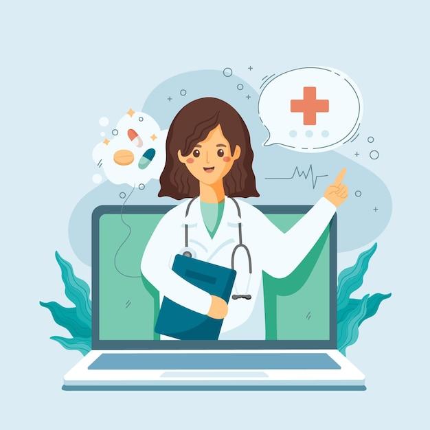 Concepto médico en línea vector gratuito