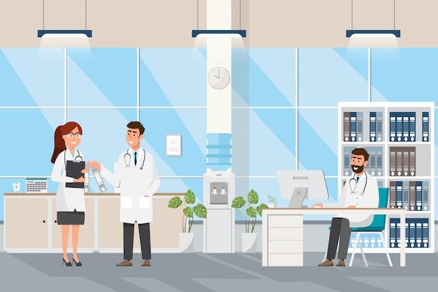 Concepto médico con médico y pacientes en caricatura plana en el hall del hospital Vector Premium