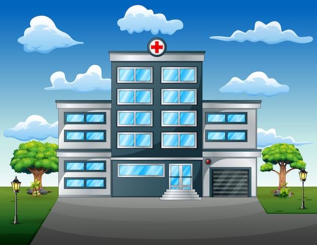 Concepto médico del paisaje con vista frontal del edificio del hospital Vector Premium