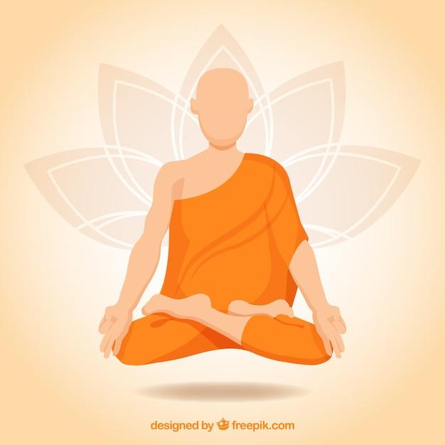 Concepto de meditación con monje budista vector gratuito