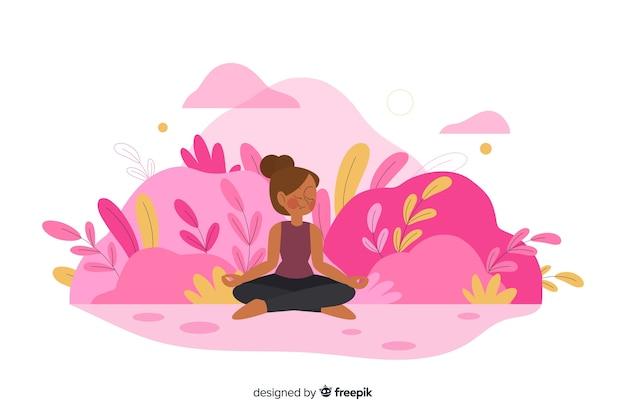 Concepto de meditación para la página de inicio vector gratuito