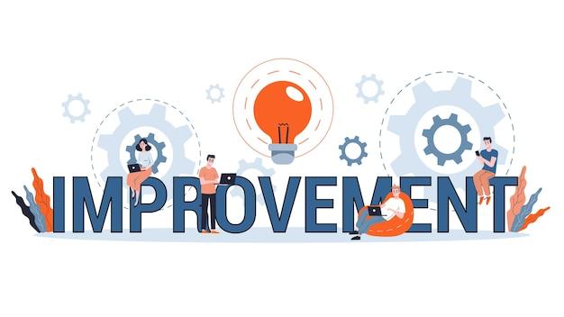 Concepto de mejora, desarrollo personal y progreso empresarial. crecimiento y éxito financiero. encontrar la mejor solución. ilustración Vector Premium