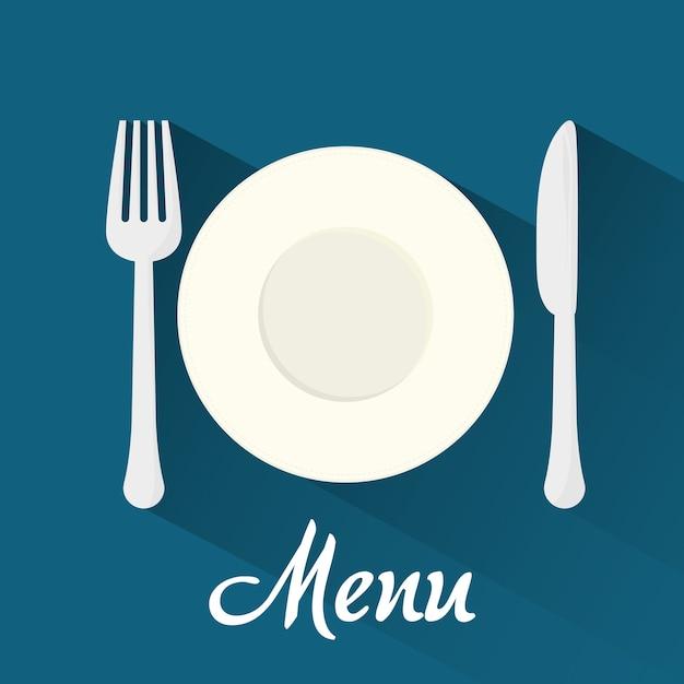 Concepto de menú con el diseño del icono de la comida, gráfico de vector ilustración 10 eps. Vector Premium