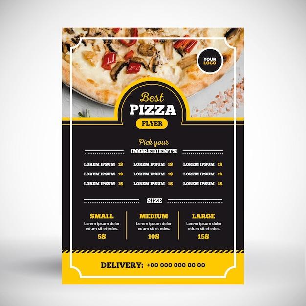 Concepto de menú de pizza vector gratuito