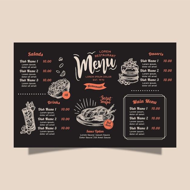 Concepto de menú de restaurante casero vector gratuito