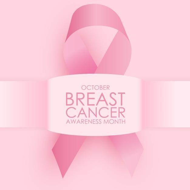Concepto del mes de concientización sobre el cáncer de mama de octubre. signo de cinta rosa Vector Premium