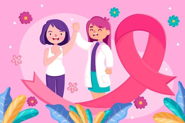 Concepto del mes de concientización sobre el cáncer de mama vector gratuito