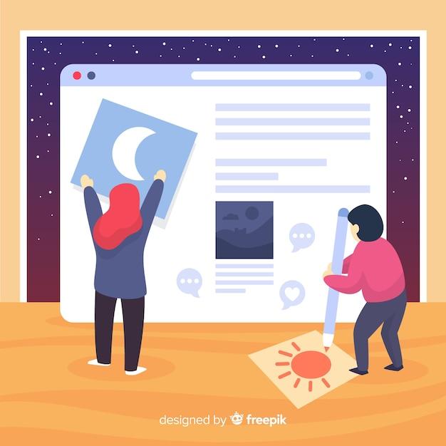 Concepto moderno de bloguero con diseño plano vector gratuito