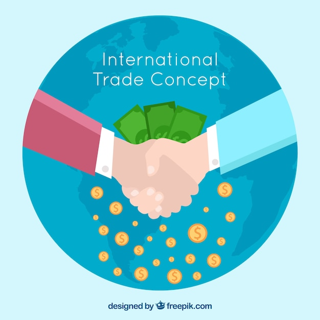 Concepto moderno de comercio internacional con diseño plano vector gratuito