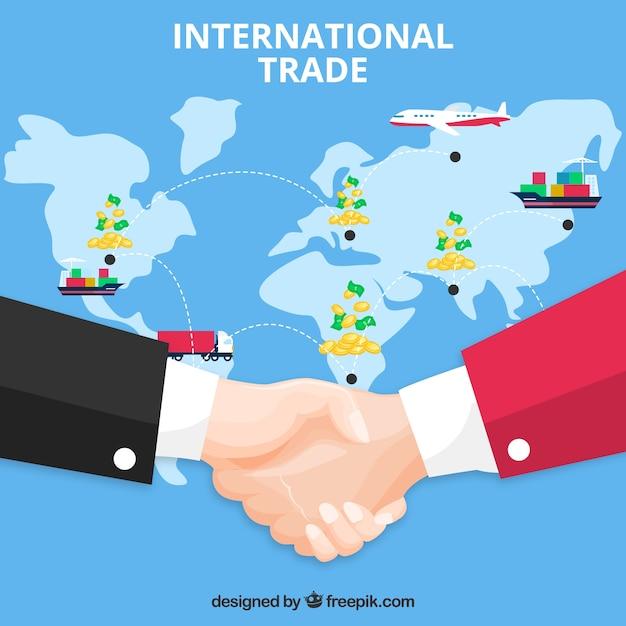 Concepto moderno de comercio internacional con diseño plano | Vector Gratis