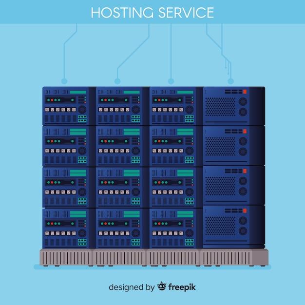 Concepto moderno de data hosting vector gratuito