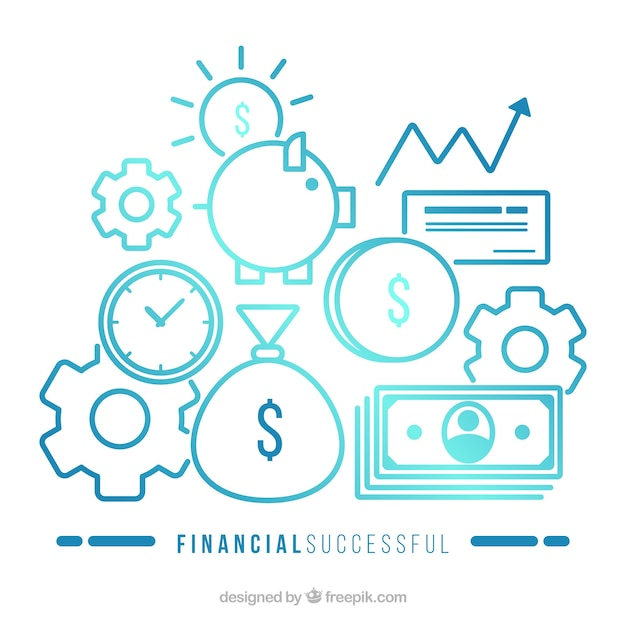 Concepto moderno de éxito financiero vector gratuito