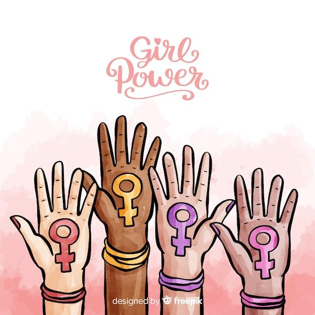 Concepto moderno de feminismo en acuarela vector gratuito