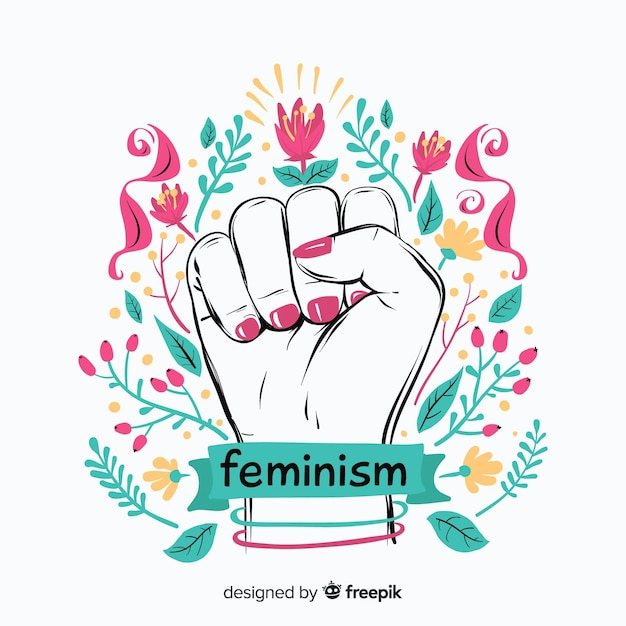 Concepto moderno de feminismo dibujado a mano vector gratuito