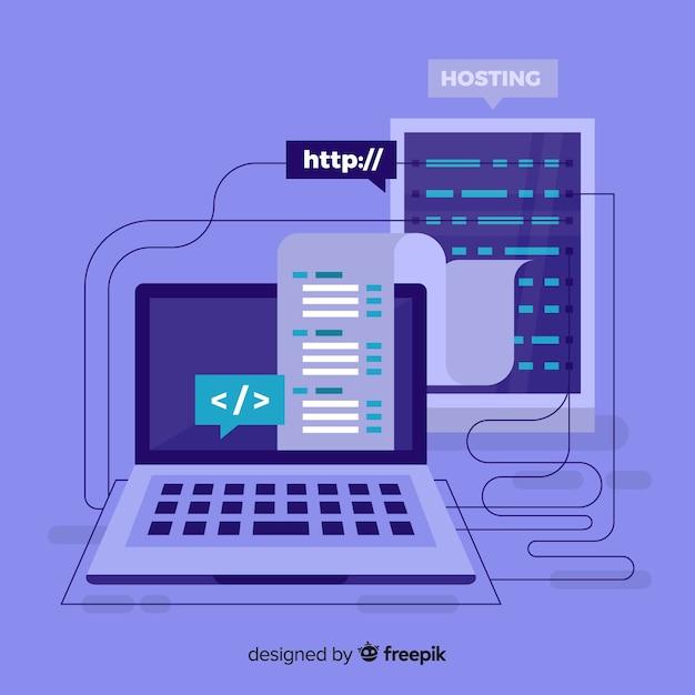 Concepto moderno de hosting con diseño plano vector gratuito