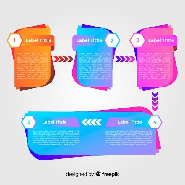 Concepto moderno de pasos infográficos gradientes vector gratuito