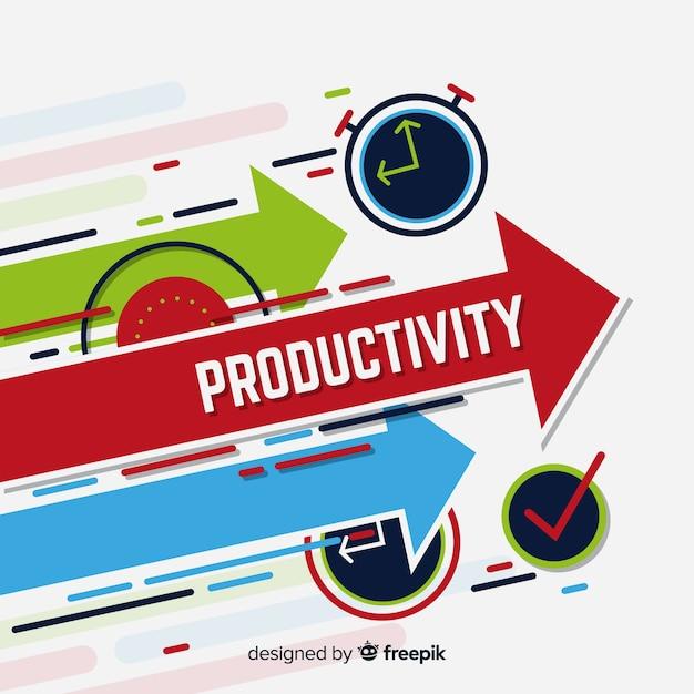Concepto moderno de productividad con diseño plano vector gratuito