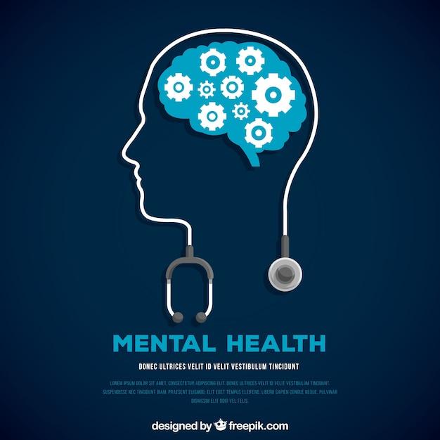 Concepto moderno de salud mental con diseño plano Vector Premium