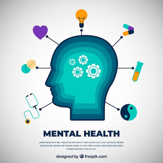 Concepto moderno de salud mental con diseño plano vector gratuito