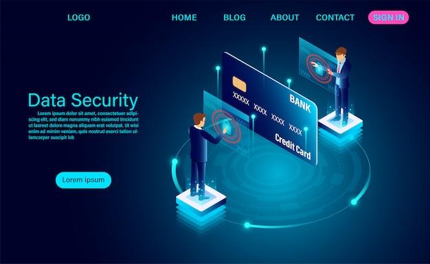 Concepto moderno de seguridad de datos. protección de datos de financiación de robos y ataques de piratas informáticos Vector Premium