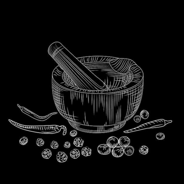 Concepto de mortero y una maja en la pizarra. conjunto de pimienta. molienda de especias e ingredientes alimentarios. Vector Premium