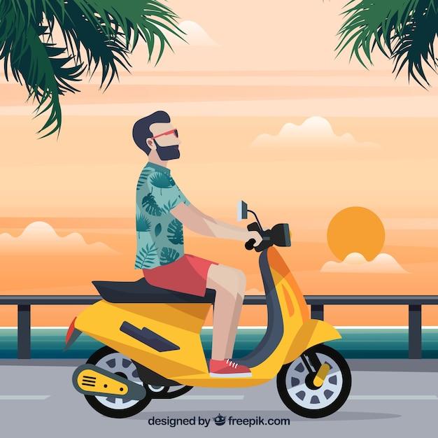 Concepto de moto eléctrico con hipster vector gratuito