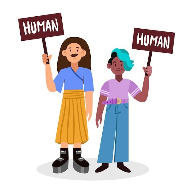 Concepto de movimiento neutral de género con personas sosteniendo pancartas vector gratuito