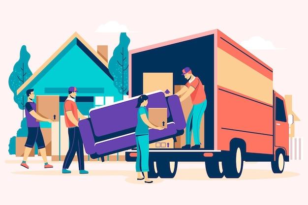 Concepto de mudanza de casa de diseño plano con camión vector gratuito