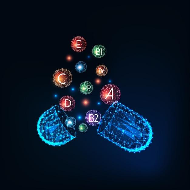 Concepto multivitamínico con píldora cápsula futurista que brilla intensamente bajo cápsula poligonal con suplementos de vitaminas Vector Premium
