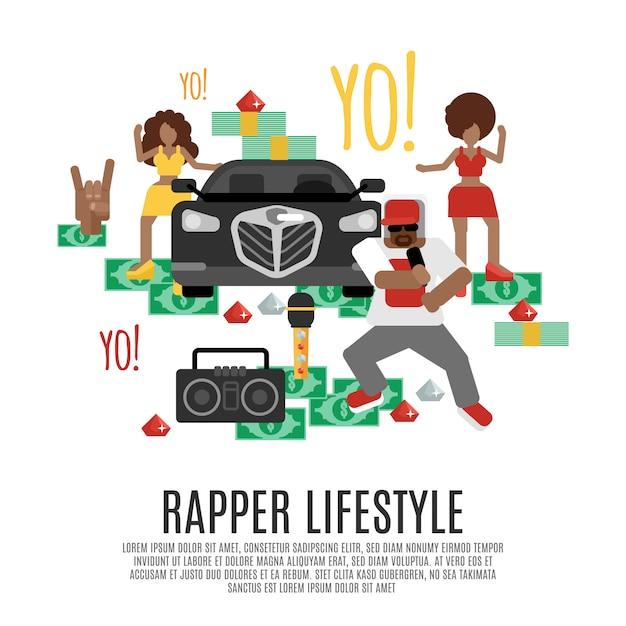 Concepto de música rap vector gratuito