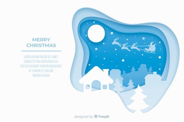 Concepto de navidad con fondo de estilo de papel vector gratuito