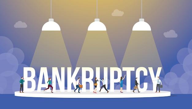 Concepto de negocio de bancarrota con personas y gran palabra o texto con estilo plano moderno Vector Premium