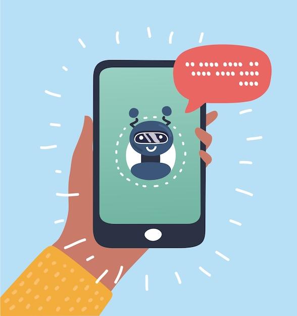 Concepto de negocio de chatbot. user girl chateando con la aplicación móvil robot. concepto de bot en moderno. ilustración. Vector Premium