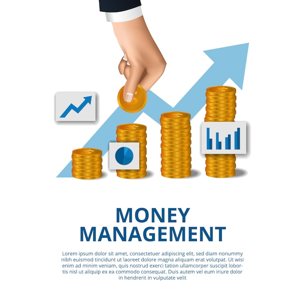 Concepto de negocio económico de crecimiento de gestión de presupuesto de dinero con mano en moneda de oro Vector Premium