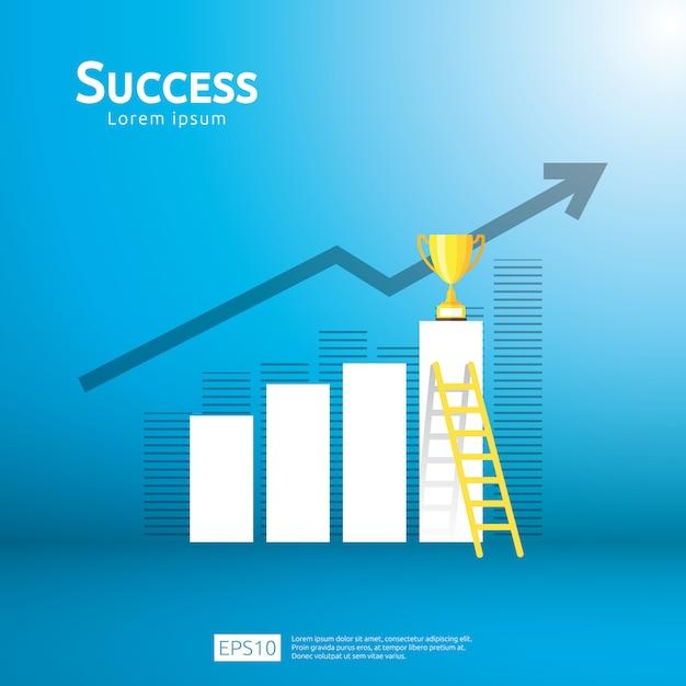 Concepto de negocio con escalera y trofeo de la copa. dirección de la flecha al ganador del éxito Vector Premium