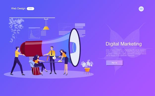 Concepto de negocio para el marketing digital. Vector Premium