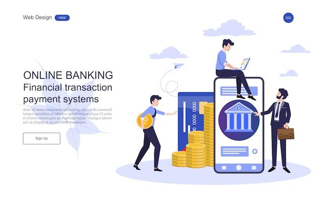 Concepto de negocio de la página web de la página de aterrizaje para banca en línea, transacción financiera. Vector Premium