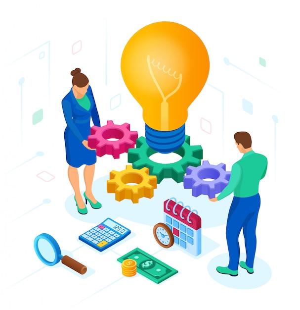 Concepto de negocio para trabajo en equipo, cooperación, asociación. idea creativa. Vector Premium