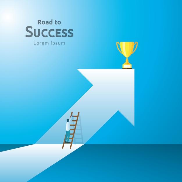 Concepto de negocio con trofeo de la copa. dirección de la flecha al ganador del éxito Vector Premium