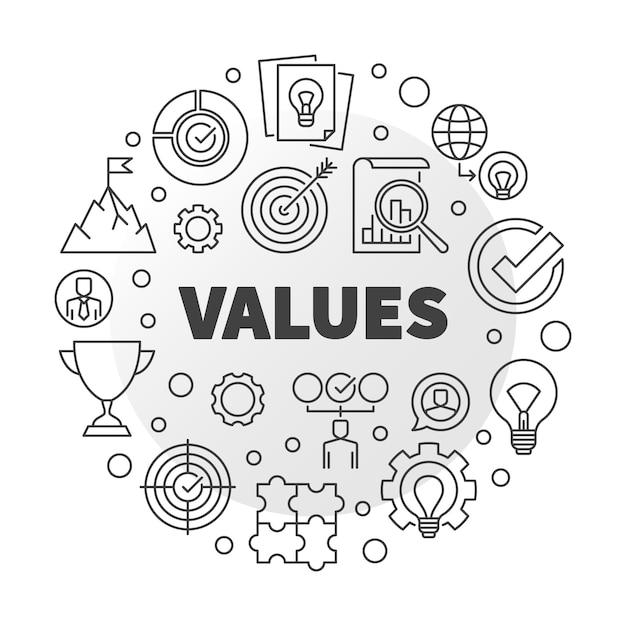Concepto de negocio valores vectoriales redondo Vector Premium
