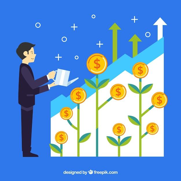 Concepto de negocios con hombre plantando monedas vector gratuito