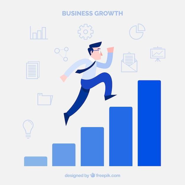 Concepto de negocios con hombre subiendo barras Vector Premium
