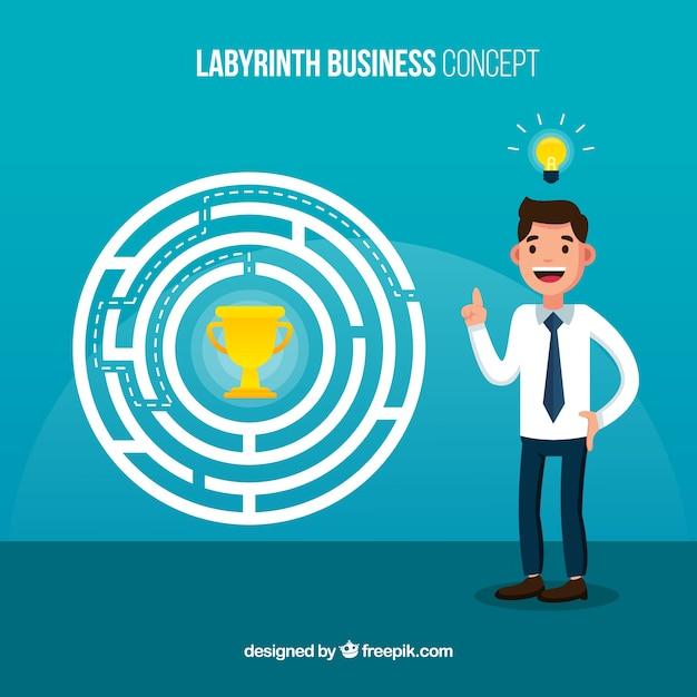 Concepto de negocios con laberinto de diseño plano vector gratuito