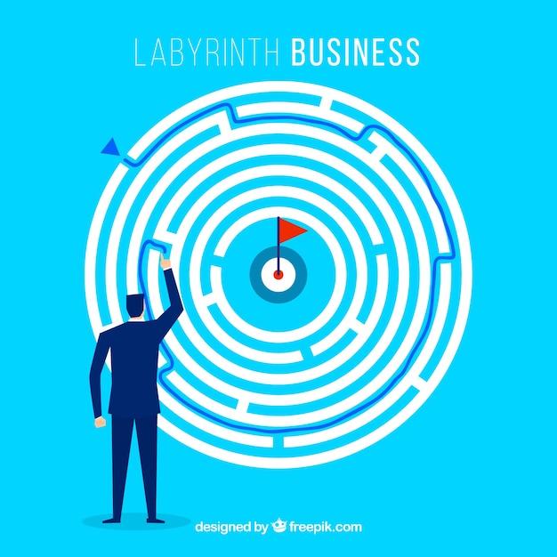 Concepto de negocios con laberinto redondo vector gratuito