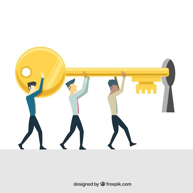 Concepto de negocios con llave de diseño plano vector gratuito
