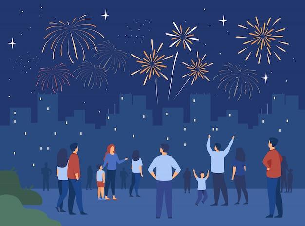 Concepto de noche festiva de la ciudad vector gratuito