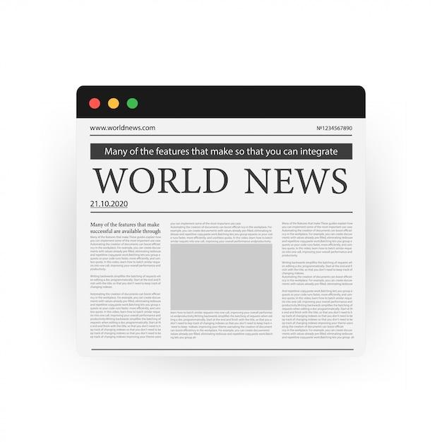 Concepto de noticias digitales con periódico de negocios en la pantalla del ordenador portátil, icono aislado en blanco Vector Premium