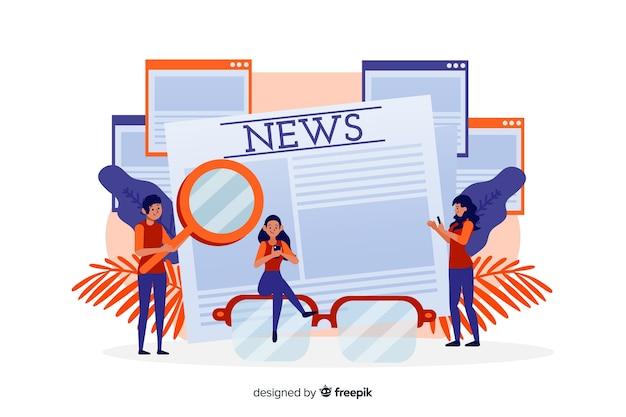 Concepto de noticias para landing page vector gratuito