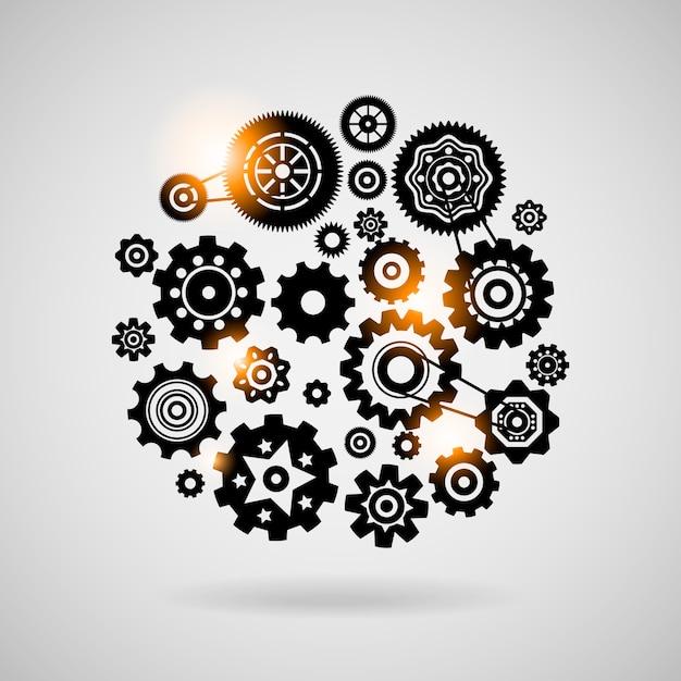 Concepto o símbolo del trabajo en equipo de engranajes y engranajes vector gratuito