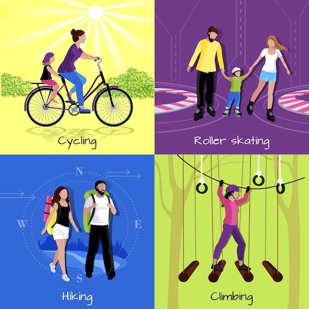 Concepto de ocio activo con diferentes recreaciones y actividades. vector gratuito